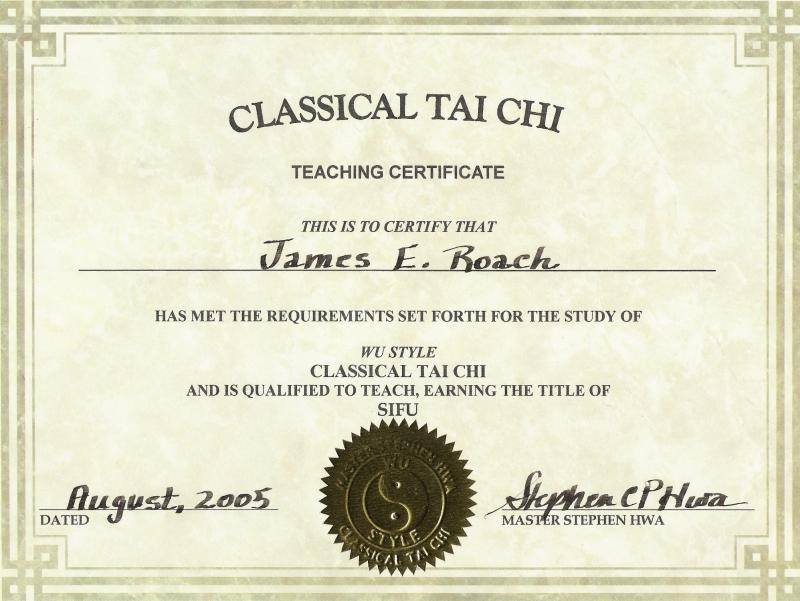 First certified teacher of Classical Tai Chi 2005